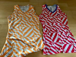 Lot Of 2 Women's Nike Pro Size Small Tank Top Shirt Dry Fit  Orange Blue Pink