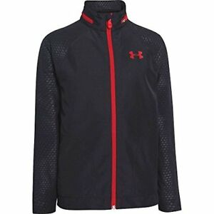 Under Armour Boys Front9 Windwater Jacket Black  Risk Red XS