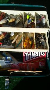 Vintage Metal Tackle Box Loaded Full of Fishing Lures & Tackle
