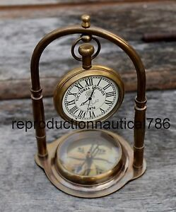 Antique Brass Working Desk Top Clock With Compass Vintage Collectible Decorative