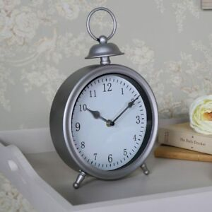 Round antique silver mantel desk top clock vintage Fathers day gift idea display