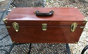 Vintage Abercrombie &  Fitch Wood Mahogany Tackle Box