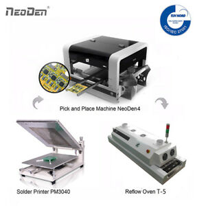 SMD Pick and Place Machine NeoDen4+Reflow Oven+Solder Printer+1 Free Stencil