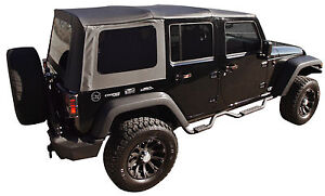 REPLACEMENT BLACK SOFT TOP TINT WINDOWS 07-09 FOR JEEP WRANGLER UNLIMITED 4 DOOR