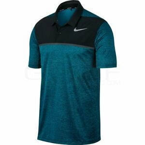 Nike TW Tiger Woods Dry Blocked Polo 854268  -467 Dri-Fit size LARGE
