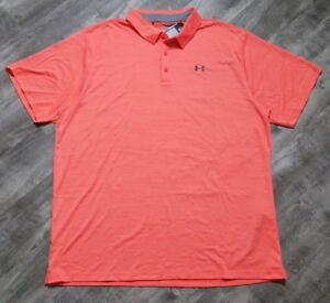 Under Armour Golf Heat Gear Polo Shirt size 4XLT Coral Loose Fit MSRP $64.99