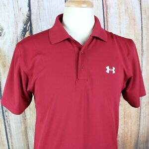 Under Armour Short Sleeve Polo Shirt Men's Small Dark Red Loose Heat Gear Golf