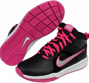 Girls Nike Basketball Shoes Black and Pink High Tops - Size 7Y -