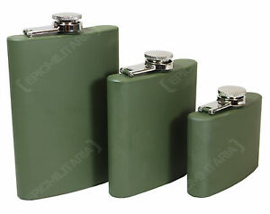 ARMY GREEN Stainless Steel MILITARY HIP FLASK Pocket Alcohol 4 6 8oz - All Sizes