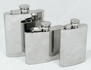 Stainless Steel MILITARY HIP FLASK Army Pocket Alcohol Holder 4 5 8oz All Sizes