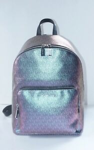 $328 NWT Michael Kors Large Zip Wythe Iridescent Metallic NickelSilver Backpack