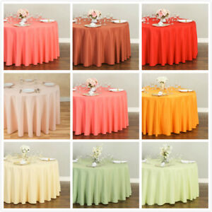 LinenTablecloth 108 in. Round Polyester Tablecloths 33 Colors