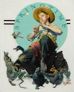 NORMAN ROCKWELL  Boy Playing Flute Surrounded by Animals (Springtime)