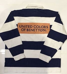 VTG 90S UNITED COLORS OF BENETTON STRIPED POLO RUGBY SHIRT M RACING F1 SPORT OG