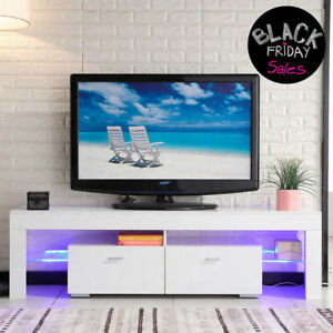 TV Stand High Gloss White Cabinet Console Furniture wLED Shelves 2 Drawers