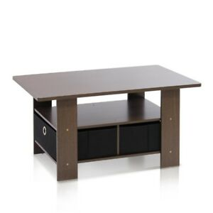 Home Living Built-In Storage Coffee Table with Removable Bin Drawers Brown Black