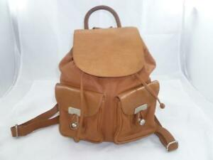 VINTAGE KENNETH COLE USED TAN LUGGAGE LEATHER SMALL WOMEN'S BACKPACKBAG