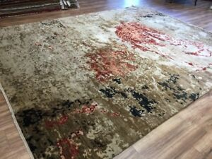 9x12 Fine Hand-Knotted Wool And Silk Green Red Black Beige Rug Abstract Design