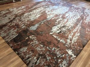 9x12 Fine Hand-Knotted Wool And Silk Brown Gray Rug Abstract Design