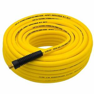 100Ft Hybrid Air Hose3 8quot; ID300 PSIw 1 4quot; MNPT Brass End FittingsNon Kinking