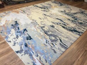 9x12 Fine Hand-Knotted Wool And Silk Blue Gray Gold Ivory Rug Abstract Design