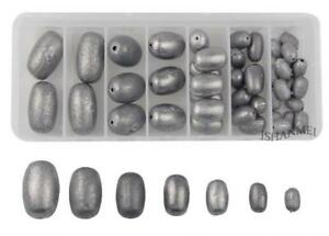 42pcsbox Egg Sinker Weight Kit Saltwater Fishing Lead Olive Bass Casting...