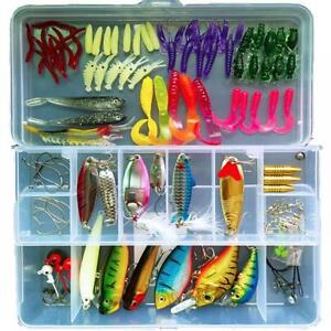 101-Pcs Fishing Lures Kit Set For BassTroutSalmonIncluding Spoon Soft...