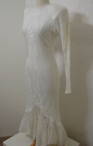 CLIMAX KAREN OKADA Vintage White Wedding Gown Asymmetrical Fishtail Mermaid 910