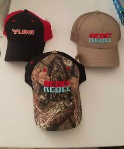 3 FISHING BASEBALL CAPS VELCRO REBEL YUM - REEL BAIT LURE TRUCKER HATS
