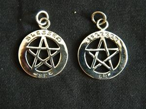 925 Sterling Silver Blessed Be Pentagram Pendant/Theban/Witchcraft/Wicca/Goth