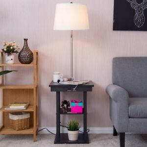 Floor Lamp Modern Built In End Table Swing Arm Shade 2 USB Ports Home Lighting