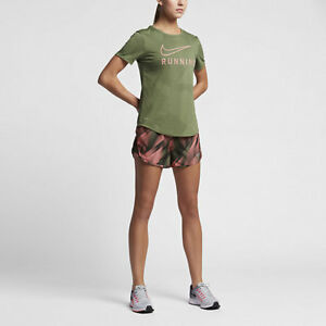 839520-387 Nike Women's Dry Tee Running Military Green T-Shirt