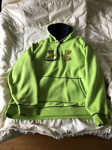 UNDER ARMOUR MENS 2 XL HOODIE SWEATSHIRT HOODED COLD GEAR SEMI FITTED