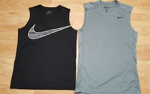 2 NIKE Dri Fit Men's Small Boys Large Fitted Sleeveless Shirt Tank Top muscle