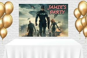 CAPTAIN AMERICA AVENGERS LARGE CAKE TABLE BACKDROP PRINT PERSONALISED 1.5MX1M