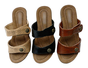 New Women Comfort Wedge Sandals Dual Adjustable Strap Slipper 3 Colors Size 5-10