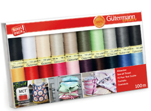 GUTERMANN SEW ALL THREAD SET VARIOUS BASIC COLOURS 20 x 100m REELS SEWING GBP 29.99