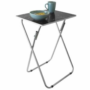 Home Basics Marble Multi-Purpose Foldable Table Black - TT41425
