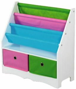 Home Basics Kids Book Holder with 2  Canvas Bins WhiteMulti-Color - SS00686