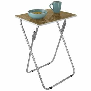 Home Basics Marble Multi-Purpose Foldable Table Brown - TT41426