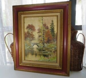 Antique oil on cardboard country bridge autumn natural hunting cabin deco