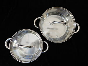 2x Cook N Home (Cooks Standard) 18-10 Stainless Steel pots w/ glass lids 2