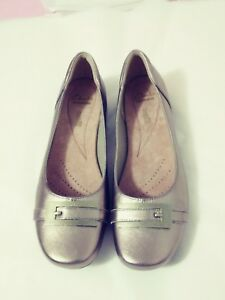 CLARKS Blanche West Leather Gold Metallic New  Womens Sizes 7,  9,  9.5 , 10
