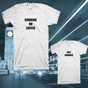 T-SHIRT RUNNING ON COFFEE MATCHING TSHIRT SET CUTE MUMMY MUM DAD BOY GIRL GIFT