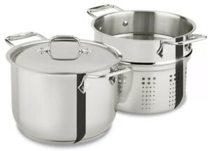 Pasta Pot Large Stock Multi Cooker 6 Quart With Insert Stainless Steel Aluminum