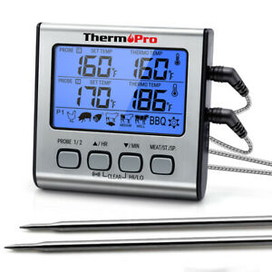 ThermoPro Meat Thermometer Dual Probe Digital Cooking Grill Thermometer w Timer