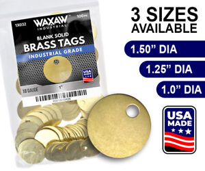 WAXAW Round Solid Blank Brass ID tags Pets Keys Tools Valves 1