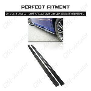 Carbon YC DESIGN Style Side Skirt Extension Underboard For16-18 Lexus GS F Sport