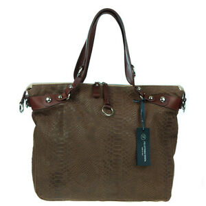 VENETA Italian Made Natural Brown Snakeskin Embossed Leather Designer Tote Bag