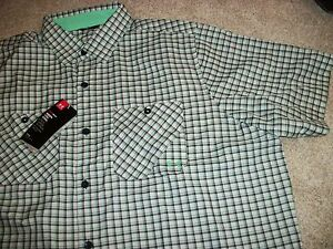 UNDER ARMOUR New NWT Mens Dress Shirt Button Up Down Black Green Plaid Loose Fit